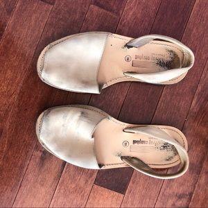 Jeffrey Campbell suede slip on sandals tan